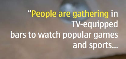 Nokia trends analysis: people watch TV in bars