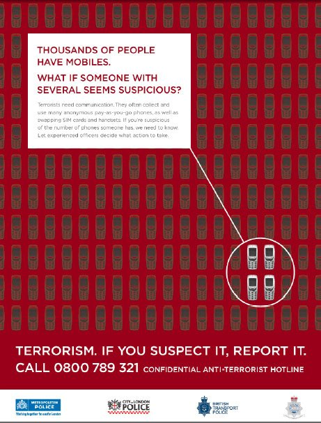 One of the Met's anti-terrorism posters regarding mobile phones