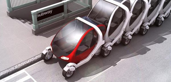 Artist's impression of MIT folding car in a supermarket trol