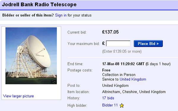 Jodrell Bank auction on eBay