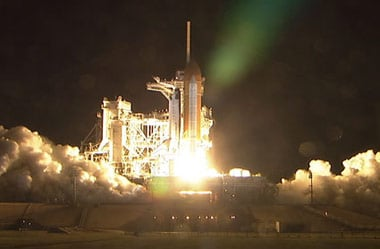 Endeavour lifts off this morning from Kennedy Space Centre. Pic: NASA