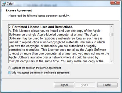 Safari License Agreement