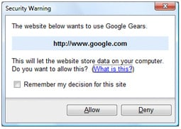 google gears dialog box