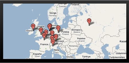 Pingdom Europe Google Data Center Map