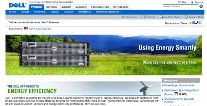 Shot of Dell server in a green field and a windmill
