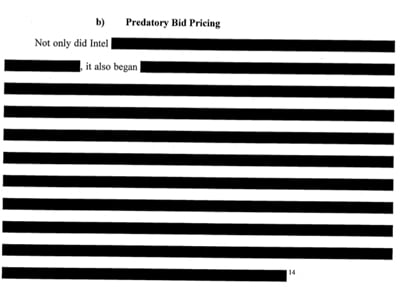 (B) Predatory Bid Pricing  Not only did Intel [redacted], it also began [redacted redacted redacted]