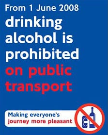 London Transport's alcohol ban poster