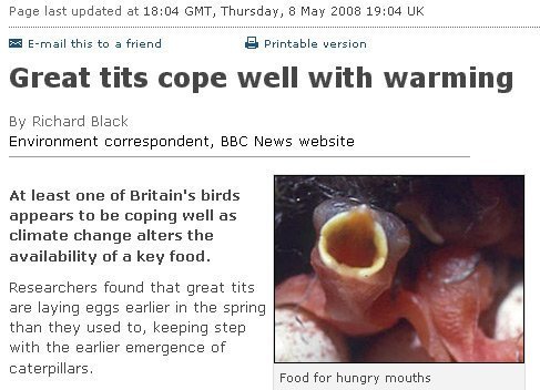 BBC headline: Great tits cope well with warming