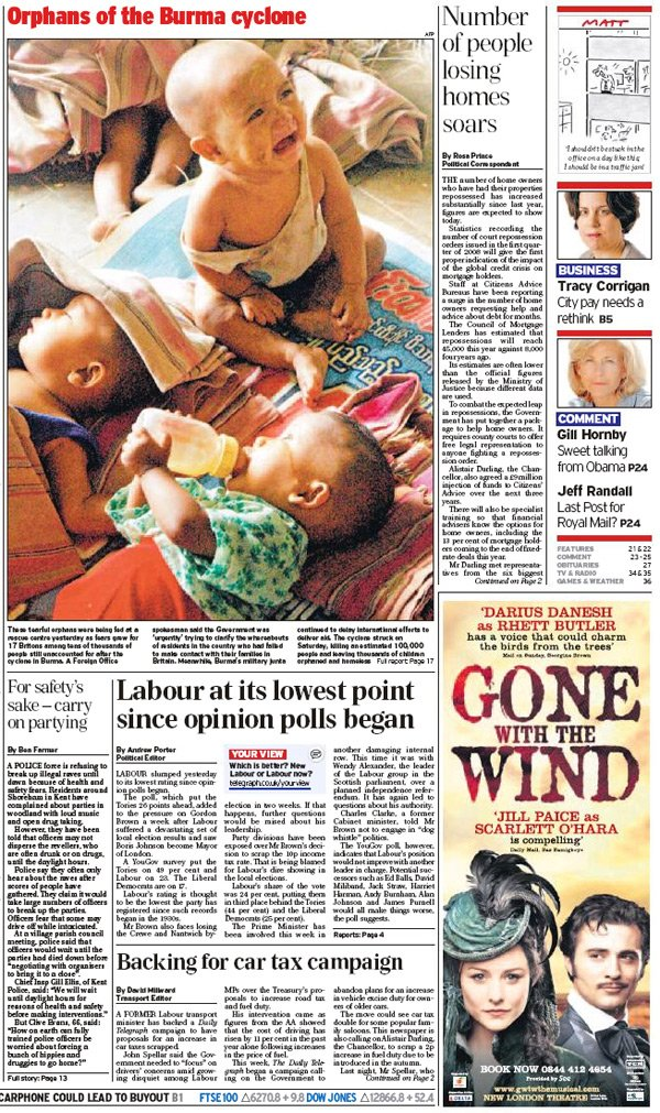 Telegraph front page showing Burmese orphans piece and ad for 'Gone with the Wind'