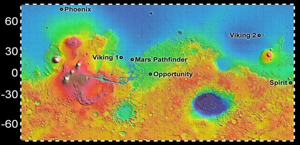 Map showing Phoenix landing site. Pic: NASA/JPL-Caltech