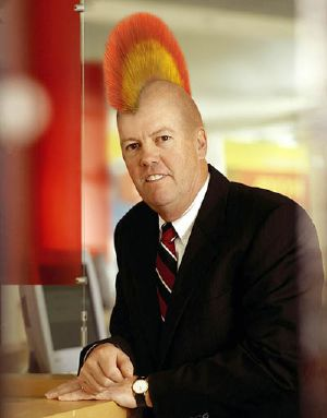 Shot of Sun Chairman Scott McNealy with Rainbow mohawk