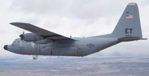 C-130 transport plane with laser belly turret fitted