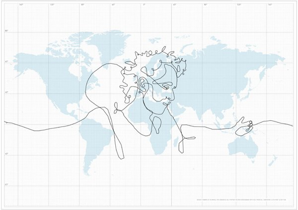 The world's biggest drawing superimposed on map
