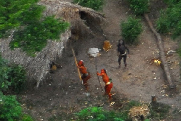 Photo of the uncontacted tribe seen from the air. Pic: FUNAI