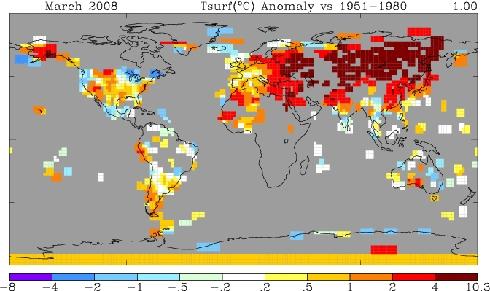 NASA Temperatures March, 2008 - 250 mile smoothing radius - looks hot