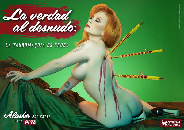 Singer Alaska appears nude on anti-bullfighting poster