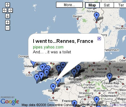 Google Map showing less-than-flattering review of Renne, France