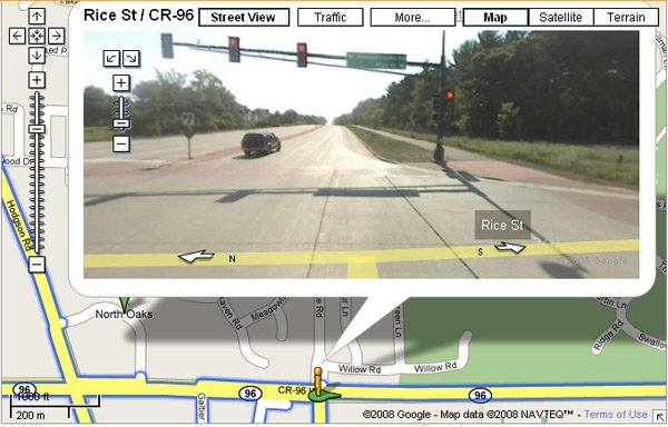 Street View screen grab showing North Oaks off limits