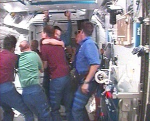 Discovery crew greeted by Expedition 17 members aboard the ISS. Pic: NASA
