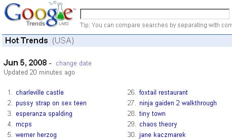 Google's Hot trends for 05.06.08 showing offending listing in second spot