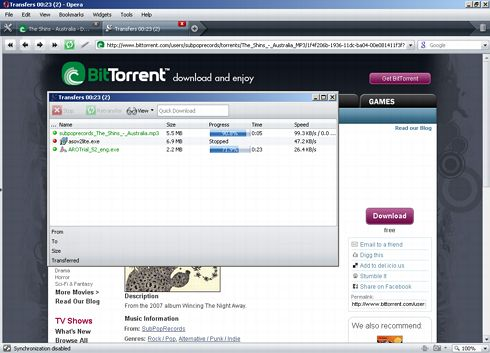Opera's built-in Bittorrent client
