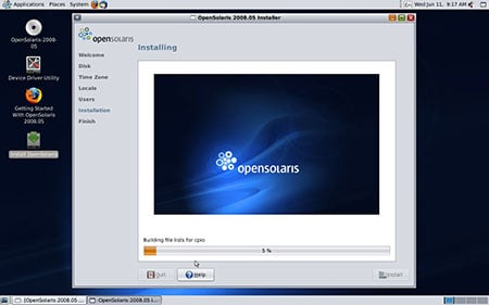 Screenshot of the Open Solaris install screen 