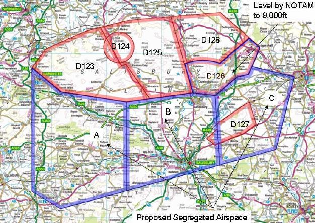 MoD map of the proposed UAV segregation zones