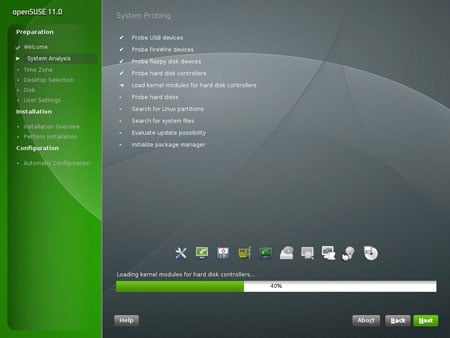 Shot of the Open Suse Installer 