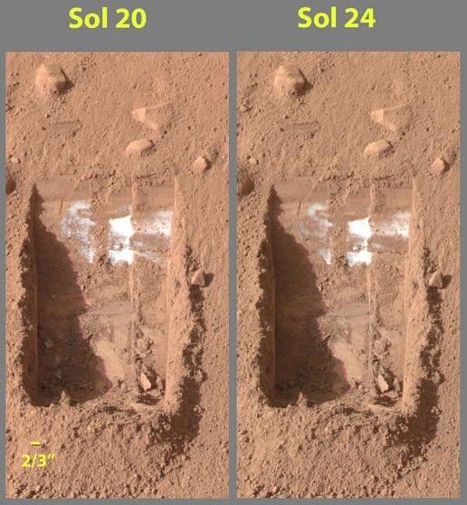 Phoenix images showing disappearance of probable water ice
