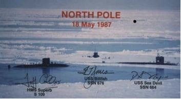 Royal Navy submarines at the North Pole, May 1987