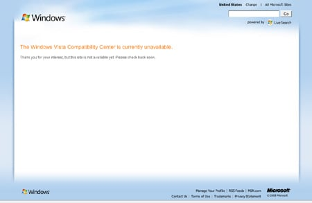 Windows Vista compatibility unavailable