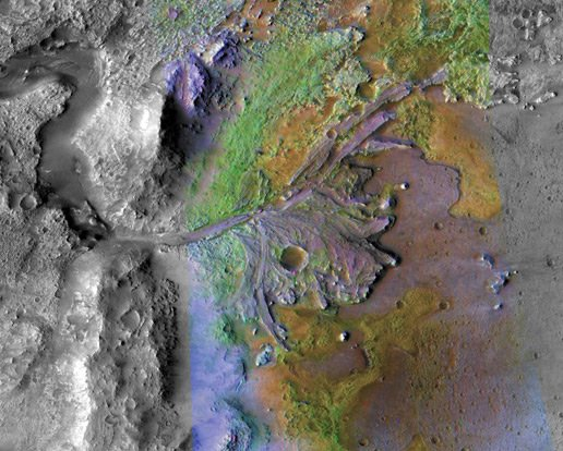 NASA's colour-enhanced image of the delta in the Jezero Crater