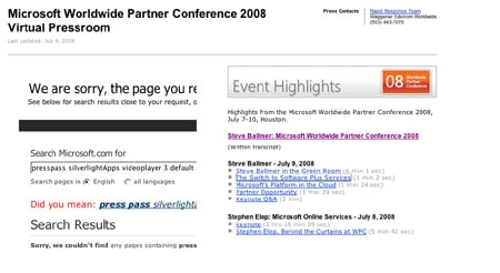 Microsoft search and Silverlight