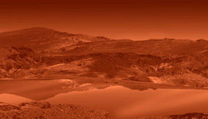 Artist's impression of a liquid lake on Titan