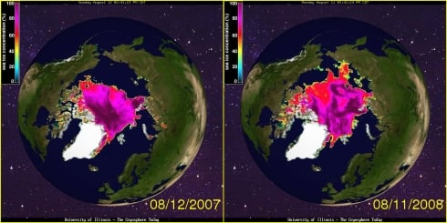 Arctic ice refuses to melt as ordered  arctic ice comparison 8aug
