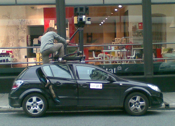 Street View operative clambers onto roof of Spycar