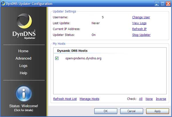 DynDNS Updater configuration page