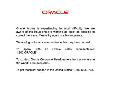 Oracle Forums message