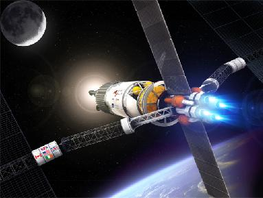Artist's pic of a solar-powered VASIMR moon mission