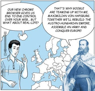 Chrome guide map cartoon revealing google's Austro-Hungarian ambitions