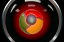Image of HAL eye from 2001 movie with Chrome logo in eye