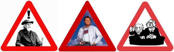 Three signs featuring, among others, Cliff Richard