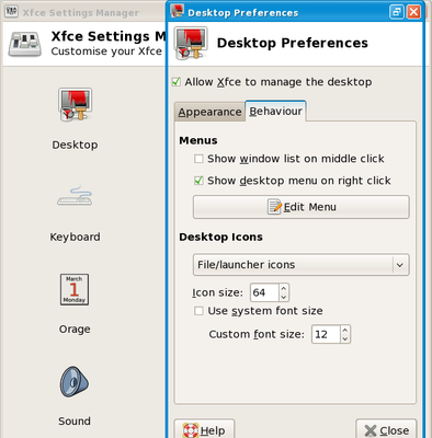 XFCE settings