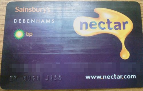 Nectar card in the name of Hugh Jass