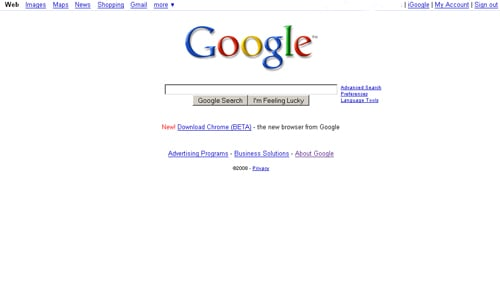 Chrome on Google Home Page