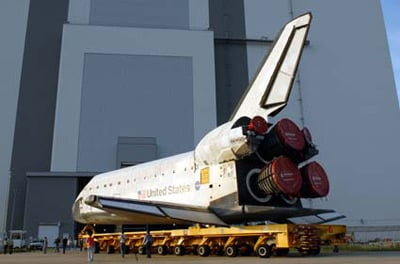 Endeavour heads into the Vehicle Assembly Building. Photo: NASA