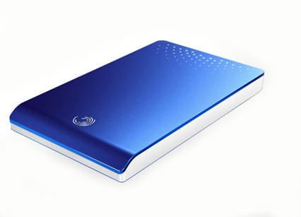 Blue-topped FreeAgent Go portable drive