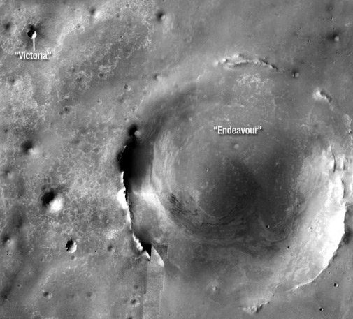 Aerial view of Victoria and Endeavour craters