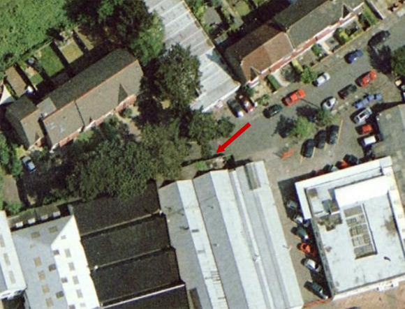 The location of the Street View territory marking as seen on Google Earth