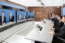 Tandberg telepresence video-conferencing session